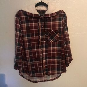 Plaid Hooded Blouse